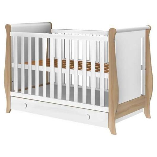 Patut copii din lemn Hubners Mira 120x60 cm alb-natur cu sertar