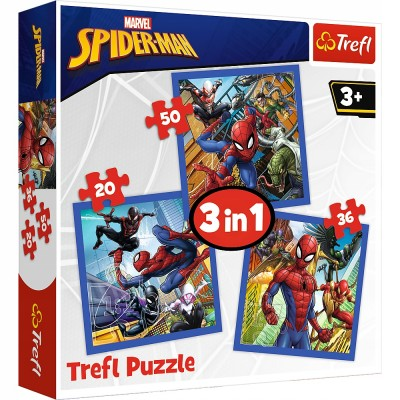Set puzzle 3 in 1 Trefl Marvel Spider Man, Forta paianjenului, 1x20 piese, 1x36 piese, 1x50 piese